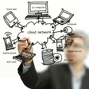 Businessman drawing cloud network on whiteboard